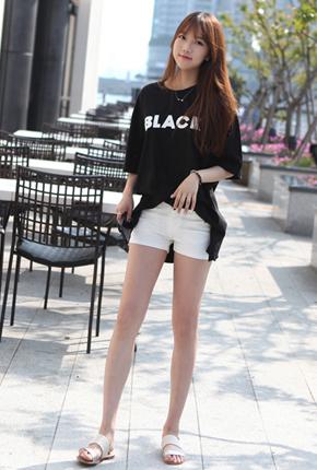 宽松黑Ť恤衫