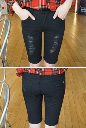SP8059(25〜32) <br>破洞黑5份紧身裤