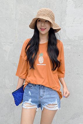 ★只有夏季★ <BR> T恤统一价格<BR>菠萝T-木炭/蓝色/深蓝色